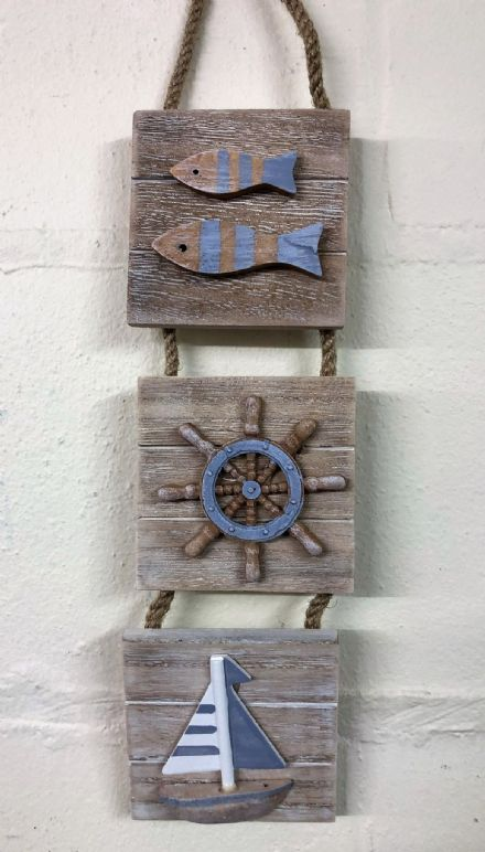 Boardwalk Triple Wooden Hanging Boards Nautical Wall Decor